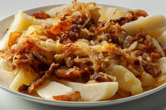 Fried potatoes with onion and bacon. Fried potatoes with onions and bacon on a plate close-up Stock Photos