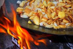 Fried potatoes with onions Royalty Free Stock Photos