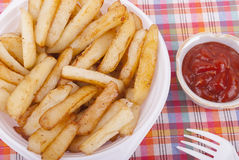 Fried potatoes in a plate. Royalty Free Stock Photos