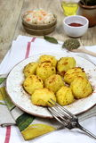 Fried potatoes and sauerkraut Royalty Free Stock Images