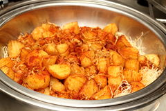 Fried potatoes served on a dish. Royalty Free Stock Image
