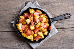 Fried potatoes, top view Stock Photos
