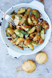 Fried potatoes, top view Stock Images