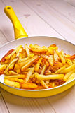 Fried potatoes in a white pan Stock Image