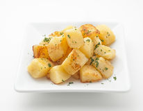 Fried potatoes on white plate Royalty Free Stock Photos