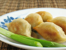 Fried Potstickers. Jiaozi, or potstickers, a popular appetizer on Chinese restaurant menus. Traditionally eaten during Chinese New Year Royalty Free Stock Image