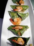 Fried prawn. With rice in banana leaf asia food Royalty Free Stock Photography