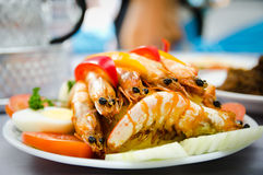 Fried Prawn. Decorated fried prawn served on wedding main table Royalty Free Stock Image