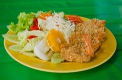 Fried prawn balls and salad Stock Photography
