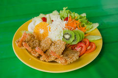 Fried prawn balls and salad Stock Photos