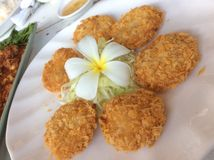 Fried Prawn cake. Thai style dipping with plum sauce serve with vegetable cucumber Stock Photography