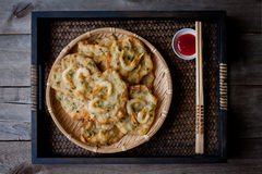Fried prawn fritters. Or commonly known as Cucur Udang, a popular snack in South East Asian countries stock images