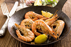 Fried Prawn with Lemon Royalty Free Stock Image
