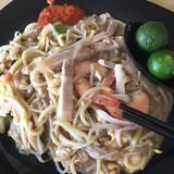 Fried Prawn Noodle Arkivbilder