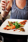 Fried prawn in a restaurant Royalty Free Stock Images