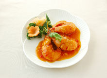 Fried prawn with spicy & sour sauce. Chinese cuisine. yumcha, chinese food Stock Photo
