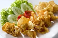 Fried prawn Won-Ton. Asian fingerfood of Fried prawn Won-Ton Royalty Free Stock Photos
