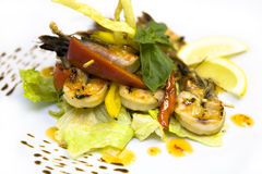 Fried Prawns. Grilled delicious tiger prawn skewers Stock Images