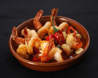 Fried prawns with chilli. And garlic Royalty Free Stock Photos
