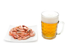 Fried prawns and fresh beer Stock Photo