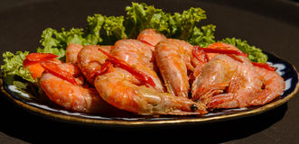 Fried prawns with fresh rosmarin and lemon juice Royalty Free Stock Photos