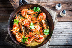 Fried prawns with garlic and coriander Stock Image