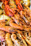Fried prawns and other seafood Stock Images