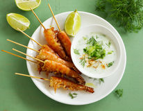 Fried prawns with sauce of yogurt Royalty Free Stock Photography