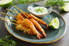 Fried prawns with sauce of yogurt Royalty Free Stock Photo
