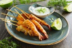 Fried prawns with sauce of yogurt Royalty Free Stock Photo