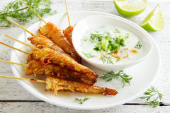 Fried prawns with sauce of yogurt Stock Image
