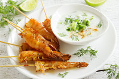 Fried prawns with sauce Royalty Free Stock Photo