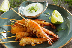 Fried prawns with sauce Stock Photo