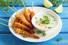 Fried prawns with sauce Stock Photos