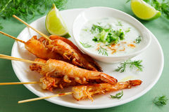 Fried prawns with sauce of yogurt Stock Photo