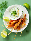 Fried prawns with sauce of yogurt Royalty Free Stock Images