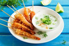 Fried prawns with sauce of yogurt Royalty Free Stock Image