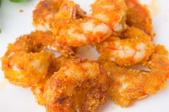 Fried prawns on a white background. Prawns fried in breading close-up Stock Photo