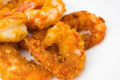 Fried prawns on a white background. Prawns fried in breading close-up Stock Photos