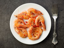 Fried prawns on white plate Stock Photo