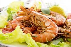 Free Fried Prawns With Salad Stock Photos - 35124973