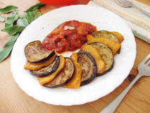 Fried pumpkin and aubergines. Royalty Free Stock Photography