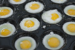 Fried quail eggs. Stock Photos