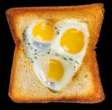 Fried quail eggs in a toast Royalty Free Stock Image