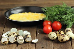 Fried quail eggs royalty free stock photo