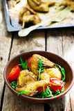 The fried quails with salad Stock Photo