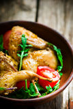 The fried quails with salad Royalty Free Stock Photography