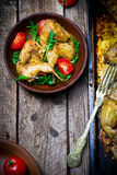 The fried quails with salad Royalty Free Stock Photo