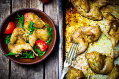The fried quails with salad Stock Photography