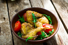 The fried quails with salad Stock Images